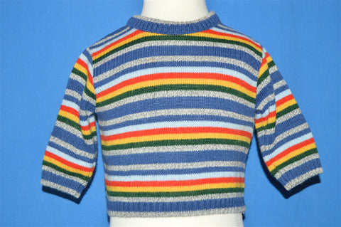 80s Rainbow Striped Baby Sweater 12 Months