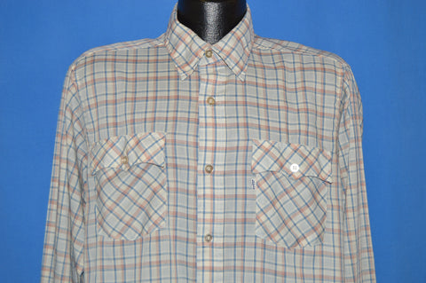 80s Levi's Plaid Button Down Shirt Men's Large