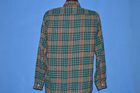 50s Penney's Towncraft Shadow Plaid Wool Shirt Medium