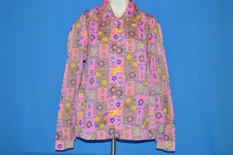 70s Flower Zip-Up Light Weight Women's Jacket Extra Large