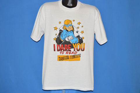 90s The Dangerman I Dare You To Read Comic t-shirt Extra Large