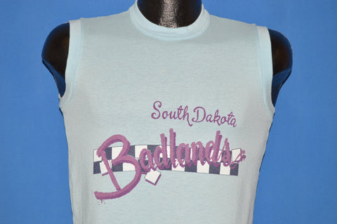 80s Badlands South Dakota Checkered Sleeveless t-shirt Small