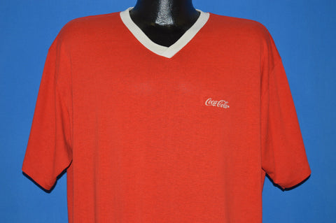 80s Coca Cola Brand Logo Sleep Shirt V-Neck t-shirt Extra Large