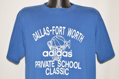 80s Adidas Fort Worth Private School Basketball t-shirt Large