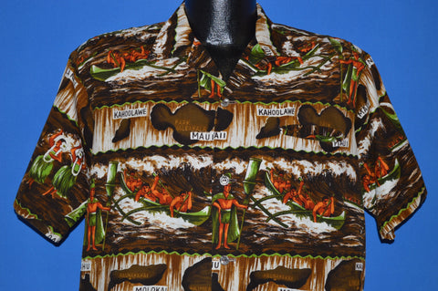 60s Native Kahoolawe Maui Boats Aloha Shirt Large