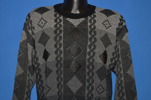 80s Geometric Print Leather Patch Sweater Large