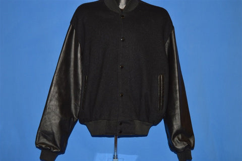 80s Married With Children Wool Leather Crew Jacket Extra Large