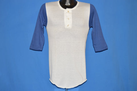70s Russell Athletic Deadstock Royal Blue Henley t-shirt Extra Small