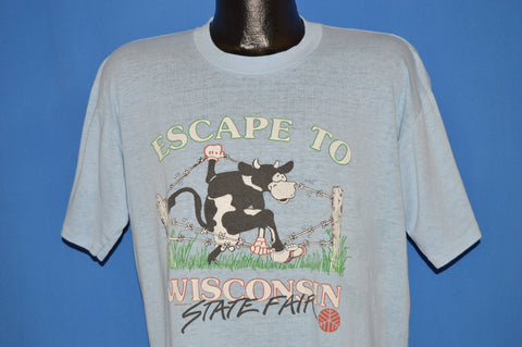 80s Escape To Wisconsin State Fair Funny t-shirt Extra Large