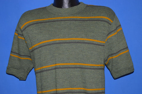 60s Striped Green Poor Boy Sweatshirt Medium