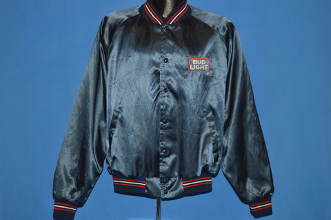 80s Budweiser Beer Blue Satin Jacket Large