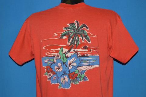 80s Flowers And Palms On The Ocean t-shirt Large