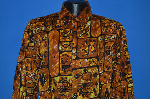 60s Da Vinci Tiki Pattern Hawaiian Shirt Medium