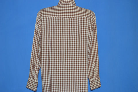 80s Dee Cee Brown Gingham Western Shirt Large