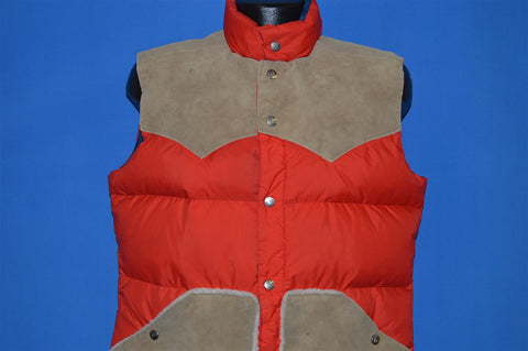 70s Gerry G Suede Accents Red Western Ski Vest Large
