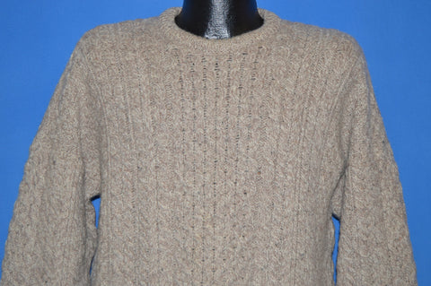80s Carraig Donn Irish Aran Fisherman Wool Sweater Large