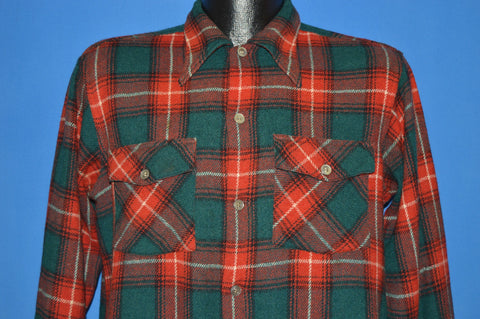 40s Arrow Wool Red and Green Tartan Plaid Shirt Medium