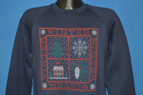 80s Winter Holiday Themed Deadstock Sweatshirt Medium