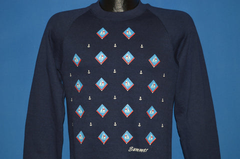 80s Summer Sailboat Deadstock Blue Sweatshirt Small