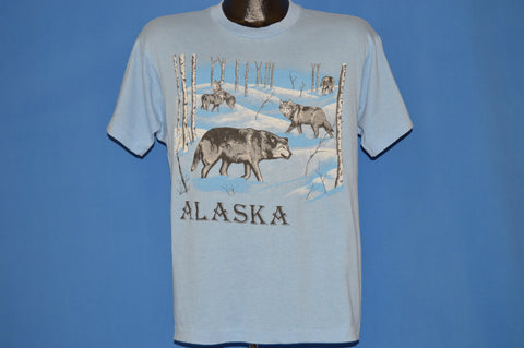 80s Wolves In Snow Alaska Tourist t-shirt Large