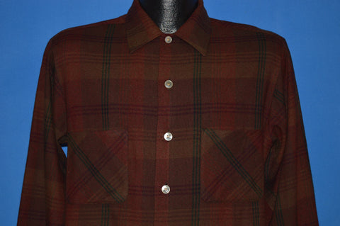50s VIP Shirtmakers Maroon Plaid Wool Shirt Medium