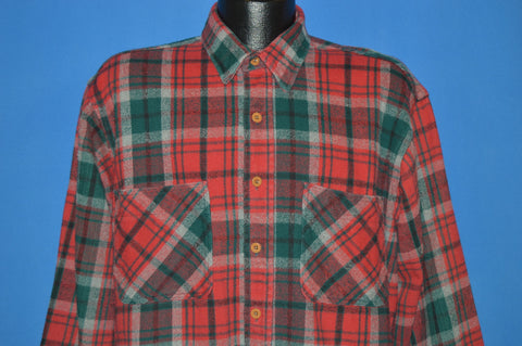 90s Big Mac Red and Green Plaid Work Shirt Large Tall
