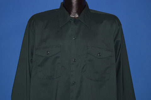 60s Green Lee Button Front Shirt Medium