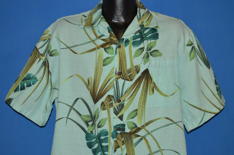 80s Hawaiian Iolani Green Tropical Aloha Shirt Large