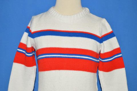 80s White Red And Blue Striped Pullover Sweater 4T