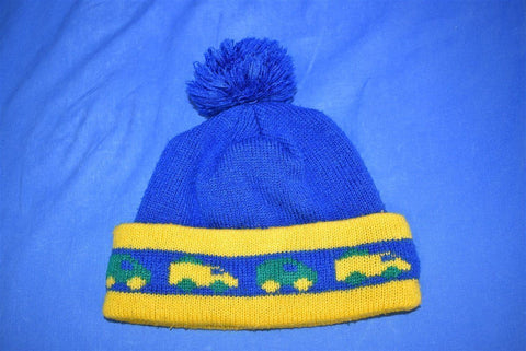 80s Blue Yellow Truck Bobble Winter Kids Hat