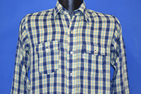 70s Levi's Plaid Button Front Gauze Shirt Youth Extra Large