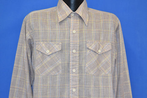 80s Gap Multicolored Plaid Button Front Shirt Large