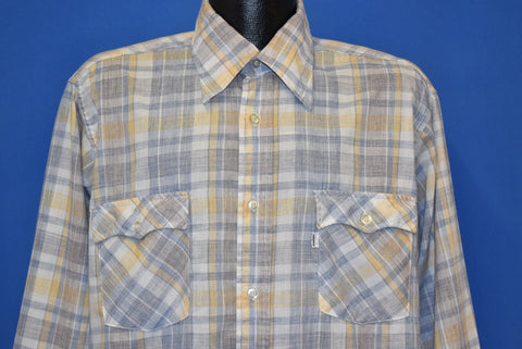 80s Levi's Yellow Plaid Button Down Shirt Men's Extra Large