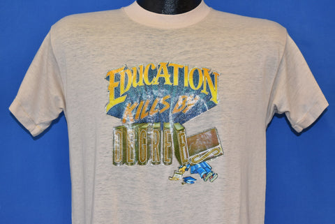 70s Education Kills By Degrees Glitter Iron On t-shirt Medium