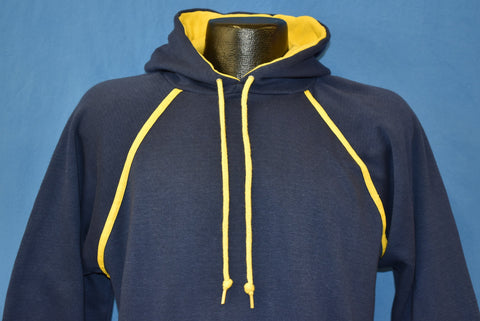 80s Blue And Yellow Raglan Hooded Sweatshirt Medium