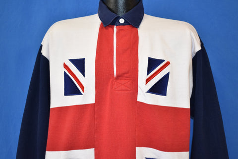 90s Union Jack English Rugby Polo Shirt Extra Large
