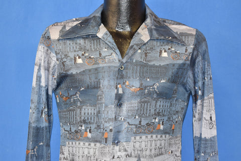 70s Horse-Drawn Carriage Patterned Disco Shirt Small
