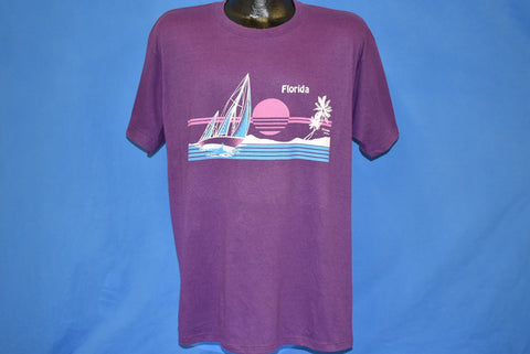80s Florida Sunset Sailboat Vacation t-shirt Extra Large