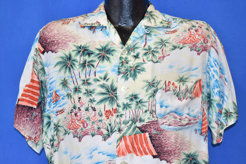 60s Kuonakakai Aloha Rayon Hawaiian shirt Medium