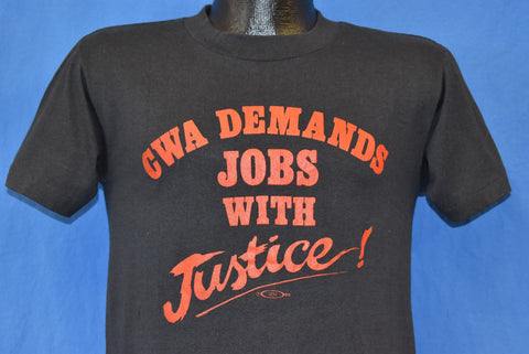 80s CWA Demands Jobs with Justice t-shirt Small