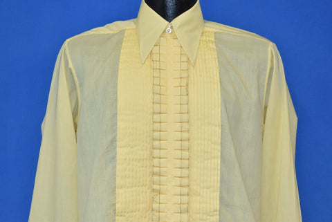 70s Black Tie Yellow Ruffled Tuxedo Shirt Medium