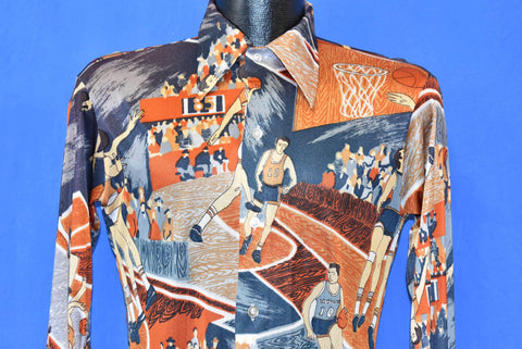 70s Basketball Theme Big Collar Disco Shirt Extra Small