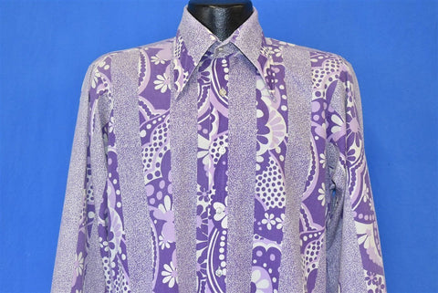 70s Sears Floral Purple Big Collar Shirt Large