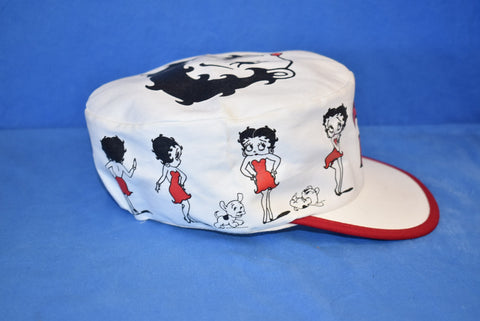 90s Betty Boop White Elastic Painter Hat