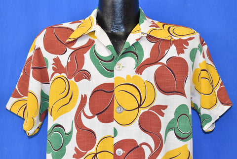 40s Brentwood Leaves Big Collar Cabana Shirt Medium
