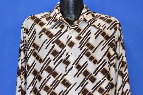 70s Abstract Giraffe Animal Print Big Collar Disco Shirt Large
