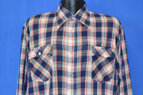 80s Levi's Plaid Rainbow Big Collar Button Down Shirt Extra Large