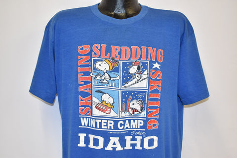 80s Snoopy Winter Camp Idaho t-shirt Extra Large