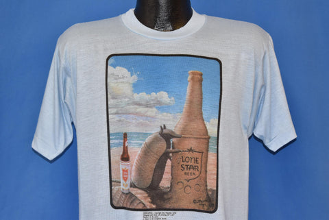 70s Lone Star Beer Bottle Armadillo Sand Castle t-shirt Medium
