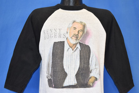 80s Kenny Rogers 1986 Tour Black Raglan t-shirt Medium